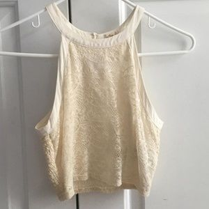 Cream, Lace, High-Neck Crop Top Hollister Size XS